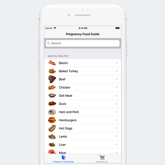 Pregnancy Food Guide iOS and Android